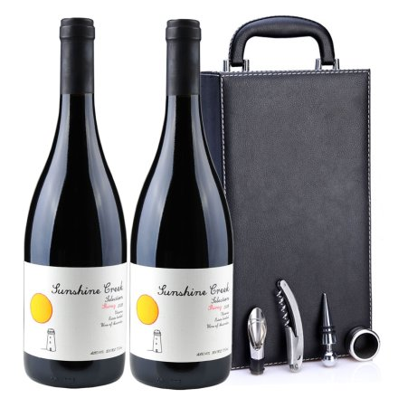 澳大利亚阳光酒庄精选西拉2008红葡萄酒黑色双支皮盒