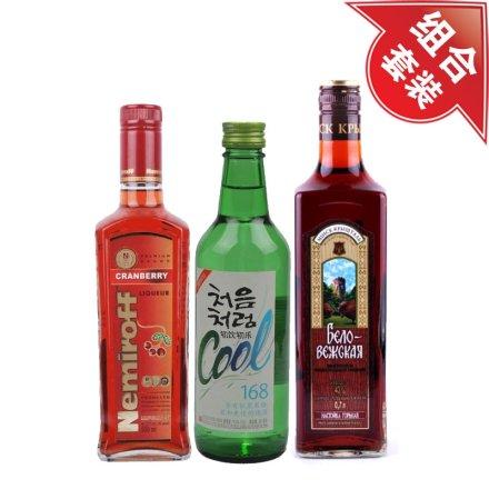 (清仓)21°雷米诺蔓越莓伏特加500ml+16.8°韩国初饮初乐酷烧酒360ml+43°斯卡雅白兰地700ml