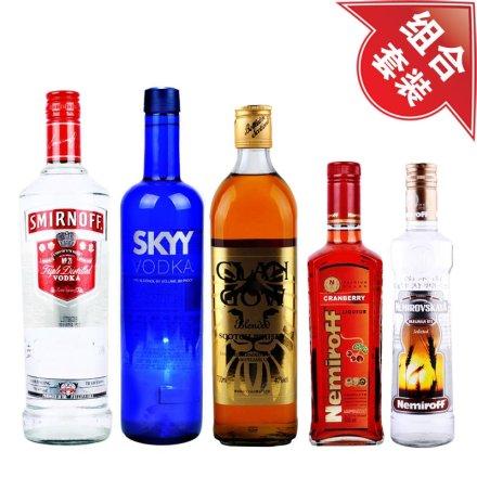 深蓝伏特加+雷米诺金牌伏特加+克兰格威士忌+斯米诺红伏特加+雷米诺蔓越莓伏特加