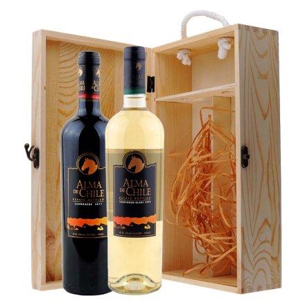 智利艾玛庄园卡麦妮干红+长相思干白葡萄酒双支松木礼盒