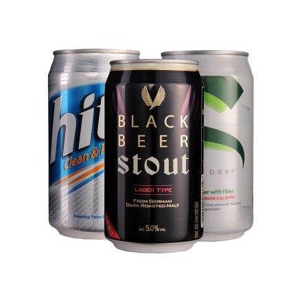 韩国海特超爽啤酒355ml+韩国海特黑啤酒355ml+韩国海特啤酒355ml