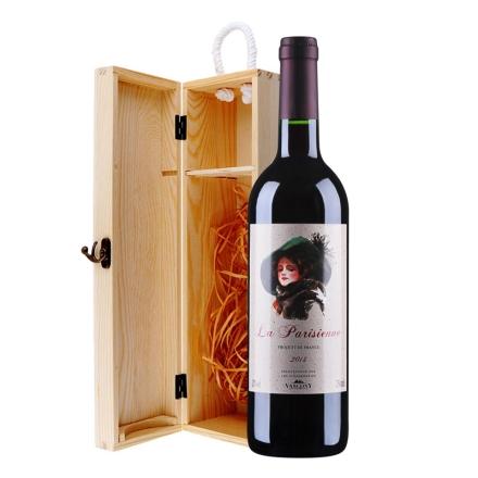法国巴黎丽人干红葡萄酒松木礼盒装