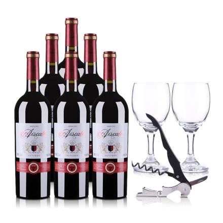 12°艾斯卡特酒庄干红葡萄酒750ml(6瓶装)加2个酒杯+1个酒刀