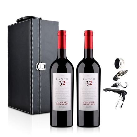 美国32领域庄园赤霞珠干红葡萄酒750ml双支皮盒装