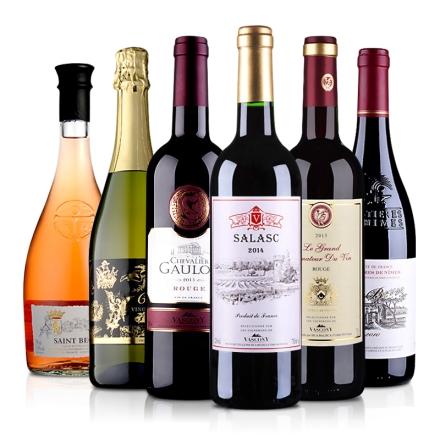 原瓶进口红酒干红葡萄酒起泡酒六支组合装