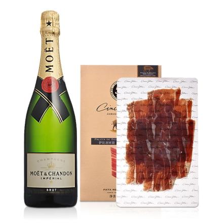 法国酩悦香槟750ml+5J纯正伊比利亚全橡果前腿切片