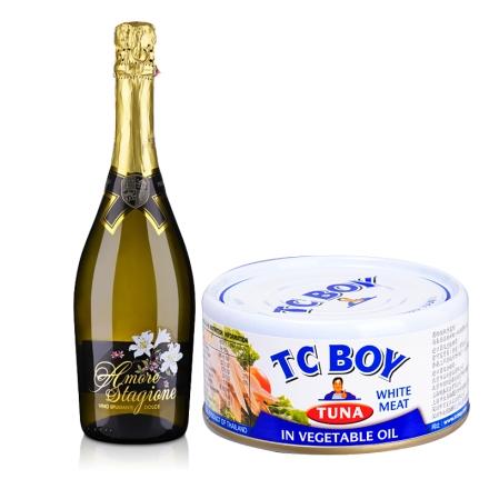 意大利恋爱季低醇起泡白葡萄酒750ml+小胖子白肉金枪鱼(特级初榨橄榄油浸)