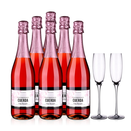 福尔黛桃红汽酒750ml*6+双支香槟杯