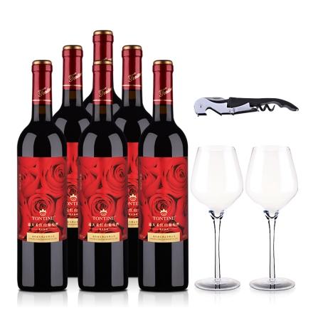 7°通天柔红山葡萄甜酒750ml(6瓶装)2个水晶酒杯+1个酒刀