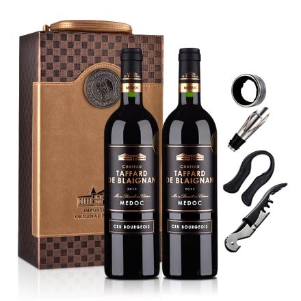 法国梅多克中级庄塔法双支礼盒干红葡萄酒