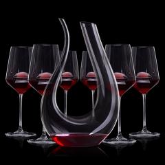 葡萄酒高端品酒7件套(竖琴醒酒器+手工水晶杯*6)
