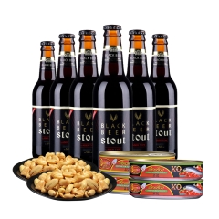 宵夜聚餐包(韩国5°海特黑啤酒Black Beer330ml(6瓶装)+ 笑迷牌(泰国)番茄汁沙丁鱼罐头200g*2+ 笑迷牌(泰国)沙丁鱼罐头XO200g*2+洽洽椒盐味香花生150g*2)