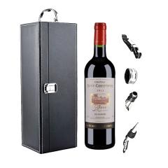 【海外直采】法国圣克里斯多夫堡干红葡萄酒 750ml+黑色单支皮盒