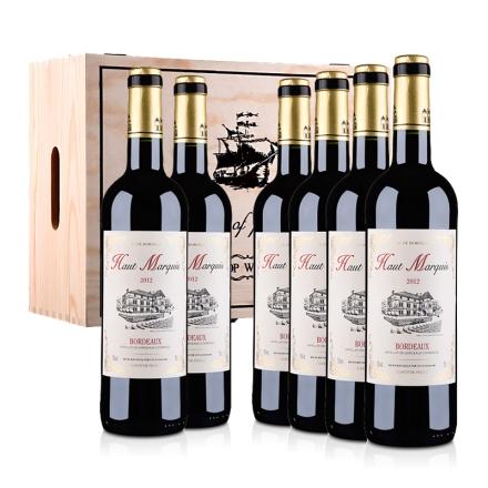 法国红酒整箱波尔多AOC奥玛奇酒庄2012干红葡萄酒750ml(6瓶装)木箱装
