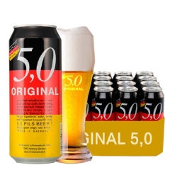 德国进口啤酒奥丁格5.0皮尔森啤酒黄啤酒500ml(24听装)