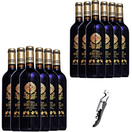法国原瓶进口博列诺酒庄干红葡萄酒红酒整箱送海马刀750ml*12
