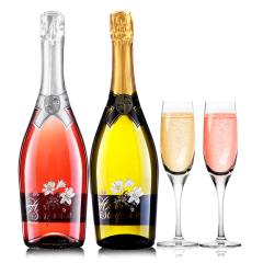 意大利原瓶进口红酒恋爱季低醇起泡酒桃红甜白葡萄酒气泡酒组合送香槟杯750ml*2