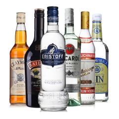 进口洋酒套装 皇太子苏联红百利甜等威士忌朗姆酒伏特加6瓶组合装