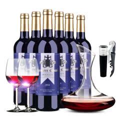 法国原瓶进口AOC红酒十字军旗波尔多干红葡萄酒750ml*6精品整箱装 送酒具