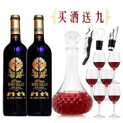 法国原瓶进口博列诺AOC级干红葡萄酒红酒送醒酒器酒杯海马刀倒酒器酒塞酒具750ML*2
