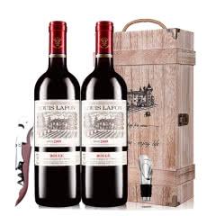 路易拉菲2009男爵古堡干红葡萄酒红酒礼盒木盒装 750ml*2