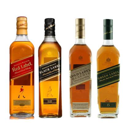 40°尊尼获加红方+黑方+金方+绿方威士忌洋酒组合4瓶装700ml