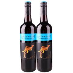 澳洲原瓶进口红酒 yellow tail澳大利亚黄尾袋鼠加本力梅洛红葡萄酒750ml 双支