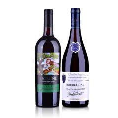 【法国经典产区波尔多+勃艮第套装组合】茉莉花干红葡萄酒750ml+拉奥尔勃艮第干红葡萄酒750ml