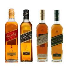 40°尊尼获加红方+黑方+金方+绿方威士忌洋酒组合4瓶装750ml