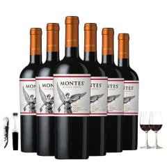 智利进口蒙特斯经典玛尔贝干红葡萄酒750ml*6 一箱 赠送5件酒具