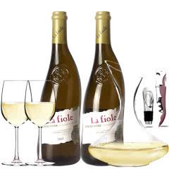 法国原瓶进口红酒教皇新堡芙华隆河干白AOC级干白葡萄酒双支醒酒器装750ml*2