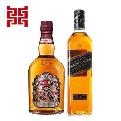 尊尼获加黑牌700ml+芝华士12年苏格兰威士忌组合装