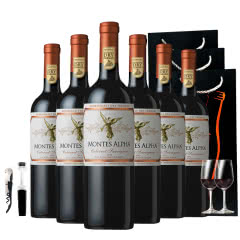 智利进口蒙特斯欧法赤霞珠干红葡萄酒750ml*6 赠送2杯+开瓶器+酒塞+3个礼品袋