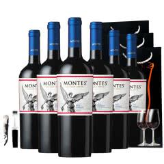 智利进口蒙特斯经典梅洛干红葡萄酒750ml*6 赠送2杯+开瓶器+酒塞+3个礼品袋
