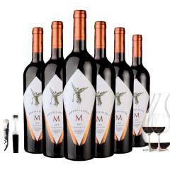智利进口蒙特斯欧法M干红葡萄750ml*6  赠送2杯+开瓶器+酒塞+醒酒器
