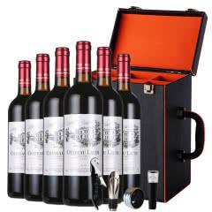 法国原汁进口红酒罗蒂纳菲尔干红葡萄酒整箱6瓶6支皮箱礼盒装  750ml*6