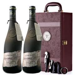法国原瓶进口红酒教皇新堡芙华干红葡萄酒双支礼盒装750ml*2