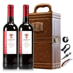 法国红酒法国(原瓶进口)醇酿干红葡萄酒双支皮盒红酒礼盒装750ml*2