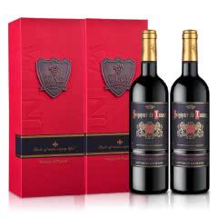【礼品礼盒装】法国原瓶进口红酒 卢萨男爵干红葡萄酒750ml*2双支礼盒装