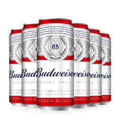 Budweiser/百威 百威听装啤酒 清啤黄啤500ml*6听整箱