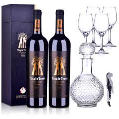 澳大利亚红酒丁戈树金标西拉干红葡萄酒750ml 双支+酒具大礼包