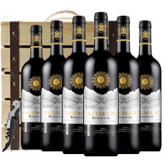 法国红酒(原瓶进口)波尔多AOC级法定产区德拉菲尔美乐干红葡萄酒750ml*6(木质礼盒)