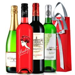 拉蒙 品酒组合 波尔多AOC级 法国原瓶进口 干白干红起泡酒桃红葡萄酒组合750ml*4