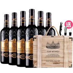 法国(原瓶进口)红酒波尔多AOC法定产区狮堡橡木桶干红葡萄酒雕花重型瓶750ml*6
