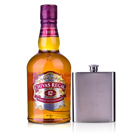 40°英國芝華士12年蘇格蘭威士忌500ml+芝華士扁型酒壺