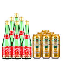55°西凤酒绿瓶500ml(裸瓶)*6+德国狮虎争霸比尔森啤酒500ml*6