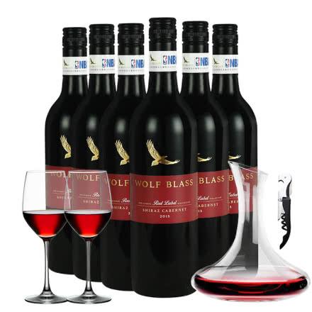 澳洲原瓶进口红酒13.5% 纷赋红牌设拉子赤霞珠红葡萄酒整箱750mlx6