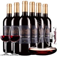 法国进口红酒黎明骑士城堡干红葡萄酒红酒整箱醒酒器装750ml*6