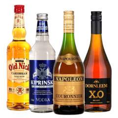洋酒组合套餐 朗姆酒+伏特加+白兰地+XO白兰地 700mL*4瓶烈酒