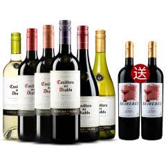 智利原瓶进口红酒 螺旋盖 干露红魔鬼葡萄酒 6种口味组合装 750ml(6瓶装)